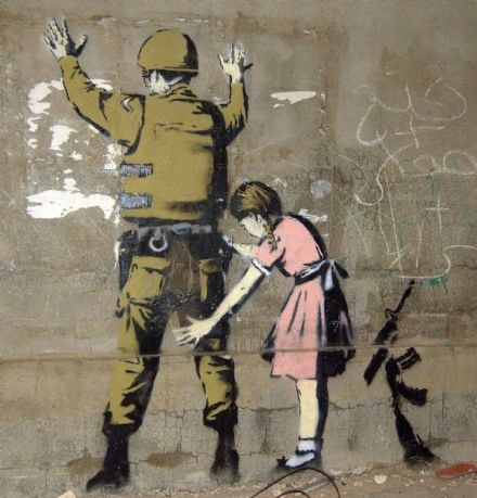Banksy: Stop and Search (Child Searching Soldier). Bethlehem Graffiti/Street Art Print.  (00593)
